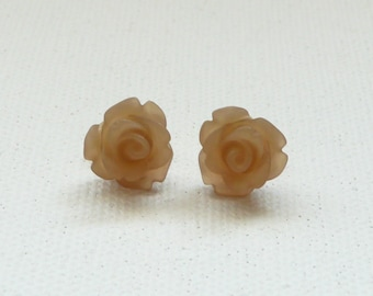 ns-Petite Frosted Latte 3d Clay Rose Stud Earrings with Gold Plated Posts