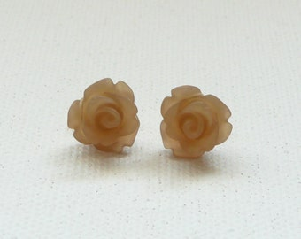 Petite Frosted Latte 3d Clay Rose Stud Earrings with Gold Plated Posts