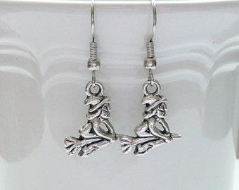 hd-Silver Witch on a Broom Dangle Earrings