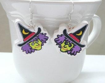 hd-Wood Halloween Witch Face Dangle Earrings