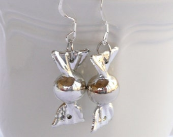 Silver (color) Christmas Candy Dangle Earrings