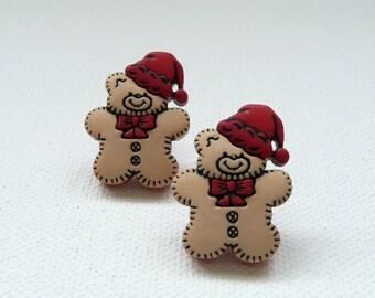 Christmas Teddy Bear Stud Earrings