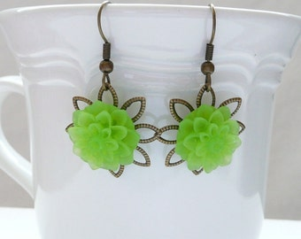 nd-Antique Bronze Filigree and Frosted Green Mum Dangle Earrings