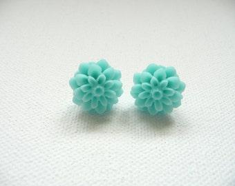 ns-Aqua Blue Resin Mum Stud Earrings