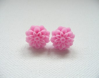 Pink Resin Mum Stud Earrings