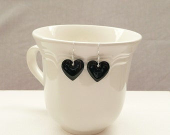 nd-Black Enamel Double Sided Heart Dangle Earrings