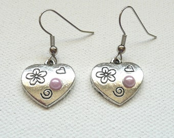 nd-Silver and Pink Heart Dangle Earrings