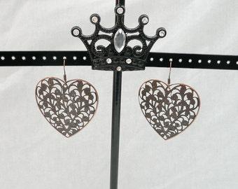 Large Lightweight Copper Filigree Heart Dangle Earrings