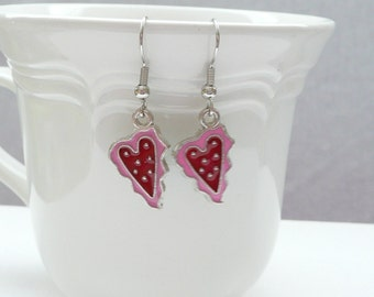 Valentine Pink and Red Heart Enamel Dangle Earrings