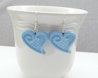Blue Heart Dangle Earrings