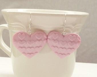Light Pink Heart on Heart Dangle Earrings