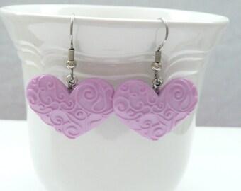 nd-Scrolled Lavender Heart Dangle Earrings