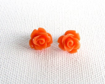 Petite Pumpkin Rose Stud Earrings