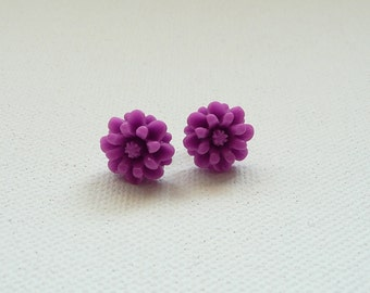 Petite Purple Flower Stud Earrings