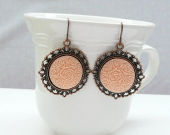 Vintage Style Copper and Peach Dangle Earrings