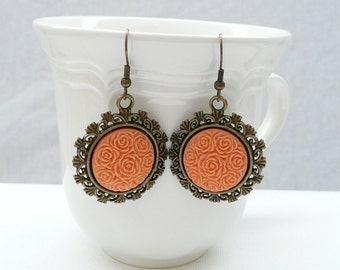 nd-Vintage Style Bronze and Ginger Dangle Earrings