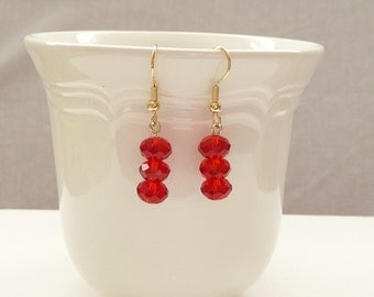 ndb-Red Crystal Rondelle and Gold Dangle Earrings