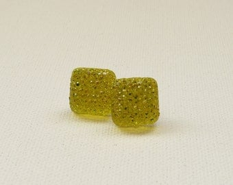 ns-CLEARANCE - Yellow Sparkle Square Stud Earrings