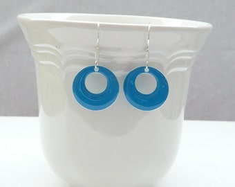 nd-Turquoise Enamel Double Sided Round Hoop Dangle Earrings