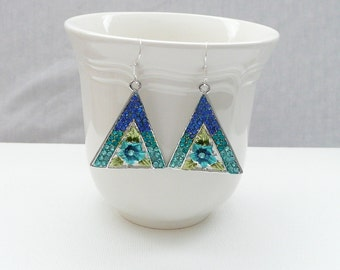 nd-Aqua and Turquoise Floral Dangle Earrings