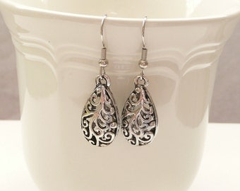 Silver Filigree Teardrop Dangle Earrings