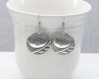nd-Silver Bird on a Branch Dangle Earrings