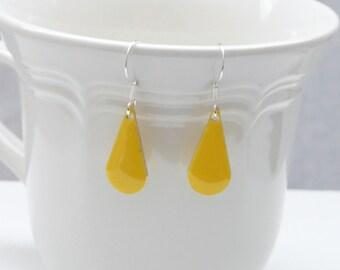 nd-Yellow Enamel Double Sided Teardrop Dangle Earrings