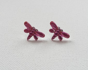 ns-CLEARANCE - Mini Faceted Sparkle Pink Dragonfly Stud Earrings