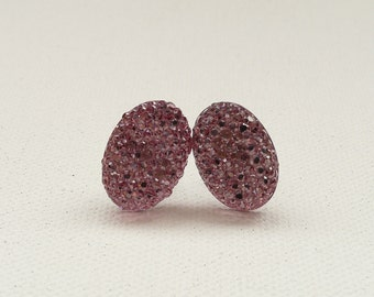 ns-CLEARANCE - Mauve Sparkle Oval Stud Earrings