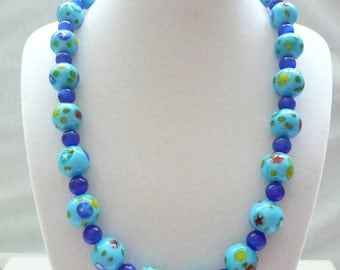 Blue Cats Eye and Blue Print Glass Bead Necklace with Gold Toggle Clasp
