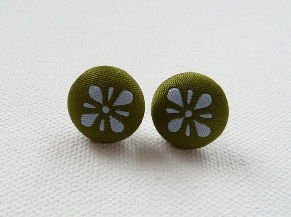 Olive Green and Blue Print Fabric Covered Round Stud Earrings