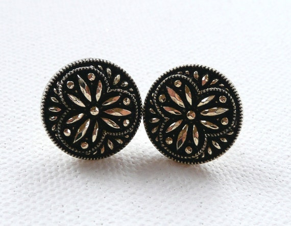 Black and Gold Button Stud Earrings