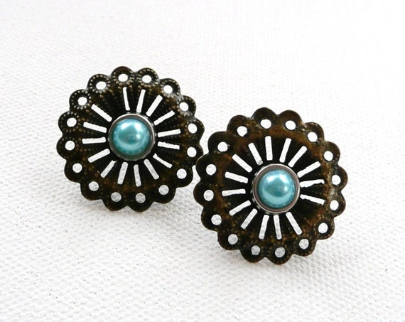 Antique Bronze Filigree Flower Stud Earrings with Pearly Blue Center