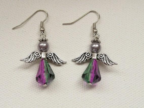 Two Tone Purple Bead Angel  Dangle Earrings