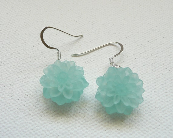 Frosted Aqua Mum Dangle Earrings