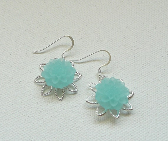 nd-Bright Silver Filigree and Frosted Aqua Mum Dangle Earrings