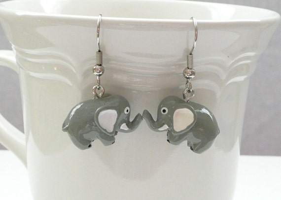 3D Elephant Dangle Earrings