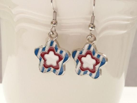 Patriotic Red, White, and Blue Flower Enamel Dangle Earrings