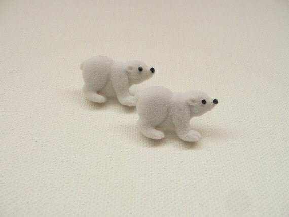 Fuzzy Polar Bear Stud Earrings