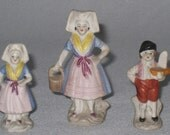 Three Miniature French Country Figurines, Bisque, made in Japan