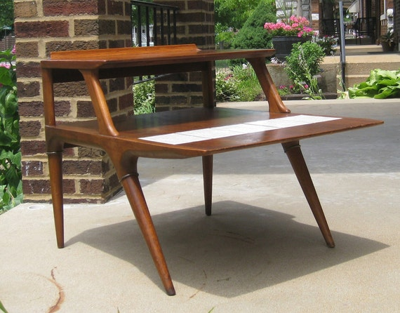 Mid Century Modern Two Tier End Table with Tile Inset by Lane Furniture Style 2907