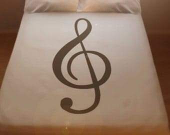 Treble Clef Sheet Music Duvet Cover Set Bedding Comforter Musical Notes Lines Twin Full Double Queen King Size