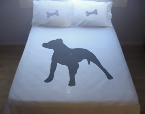 Dog Pitbull Bulldog Duvet Cover Set Bedding Comforter Pit bull terrier puppy doggy bone Twin Full Double Queen King Size custom