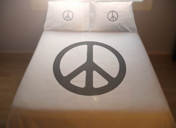 Peace Sign Bedroom Accessories: Peace Sign Duvet Cover Set Comforter Bedding Peace Symbol 70s