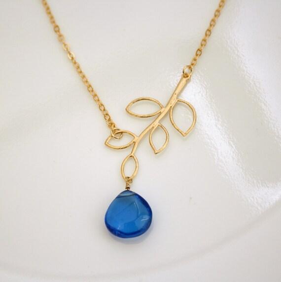 Blue Quartz Gold Branch Necklace