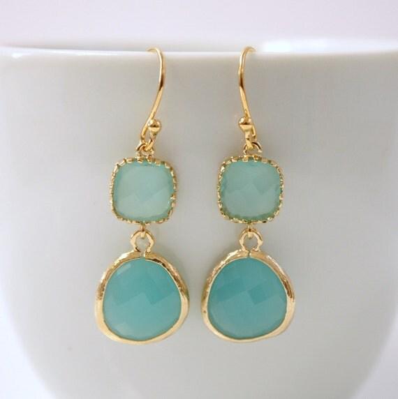 Gold Earrings Mint Opal Glass Bridesmaid Earrings Bridal Earrings