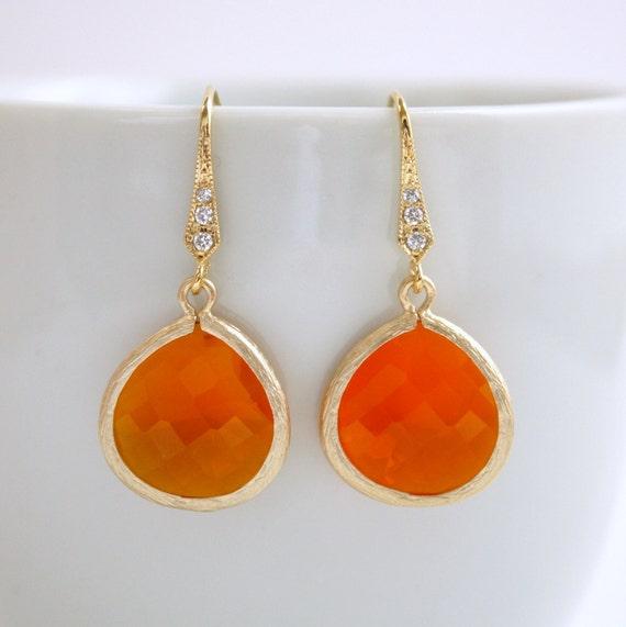 Gold Earrings Fire Opal Orange Earrings Cubic Zirconia