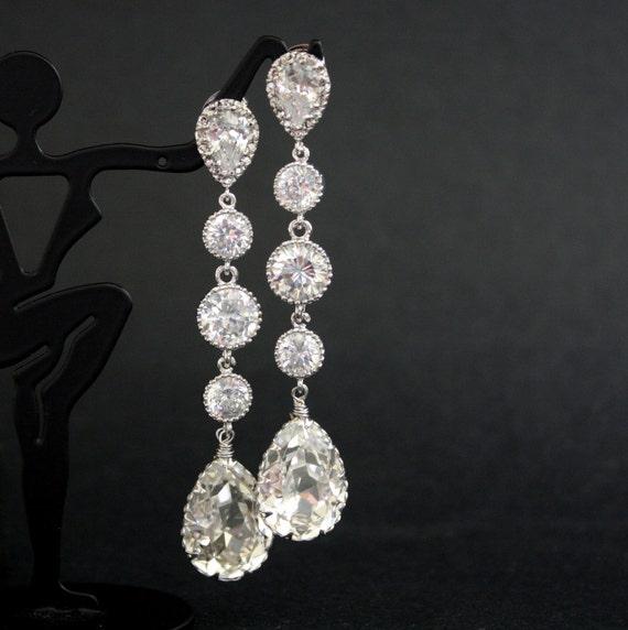 Wedding Earrings Cubic Zirconia Bridal Earrings with Teardrop Clear Swarovski Crystal Silver Posts Wedding Jewelry