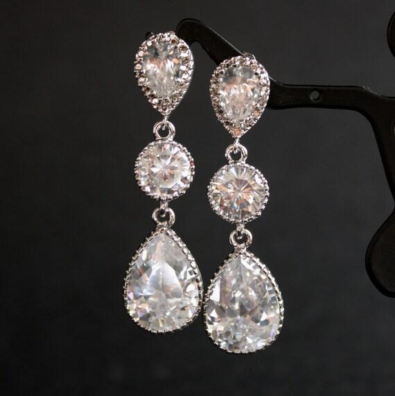 Wedding Jewelry Bridal Earrings Cubic Zirconia Teardrop Silver Posts Wedding Earrings