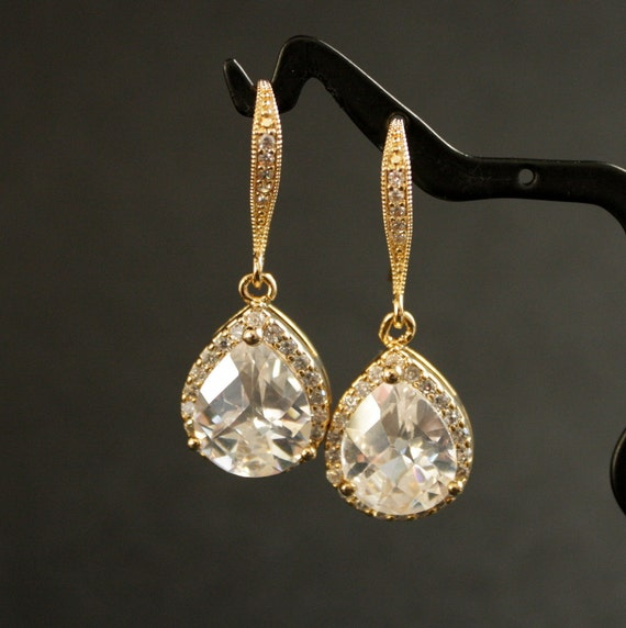 RESERVED for Cait 9 pairs Wedding jewelry Bridal Earrings Luxe Cubic Zirconia Teardrop Earrings Gold Earrings